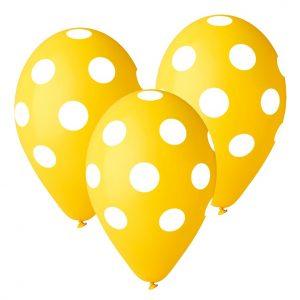 balony żółte w białe grochy