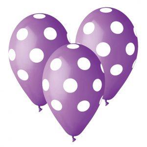 balony Gemar lawendowe w grochy