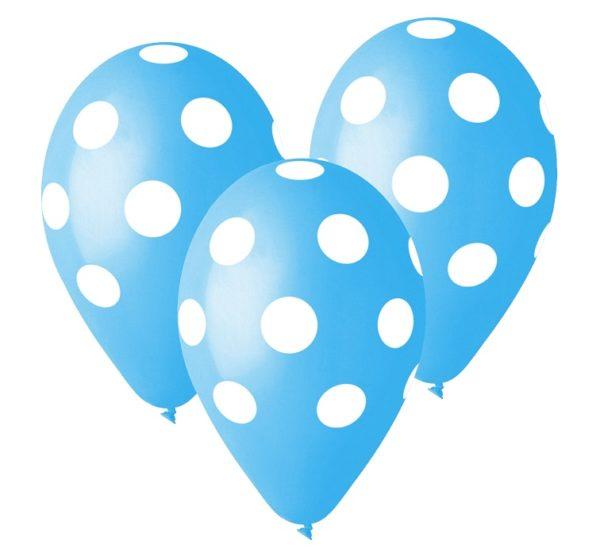 balony błękitne w białe grochy, 30 cm