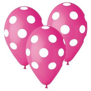 balony różowe Gemar w grochy