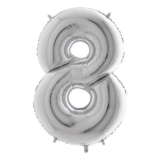 cyfra 8 srebrna, 100 cm