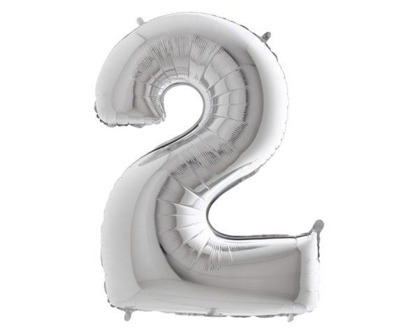balon foliowy cyfra 2 srebrna