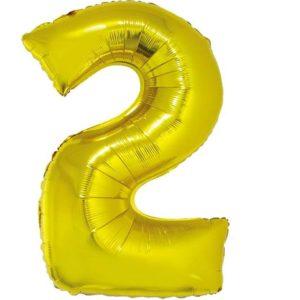 balon foliowy cyfra 2 złota