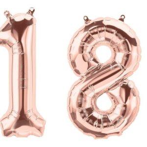 balon cyfra 18 różowe złoto, golden rose 86 cm