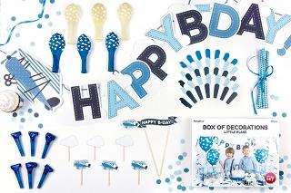 zestaw dekoracji na urodziny chłopca, samolot, samolocik, niebieska dekoracja