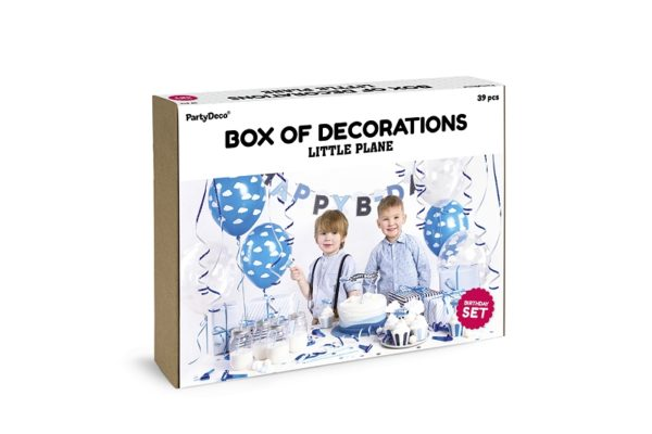 zestaw dekoracji samolocik, dla chłopca, niebiesko-biala dekoracja