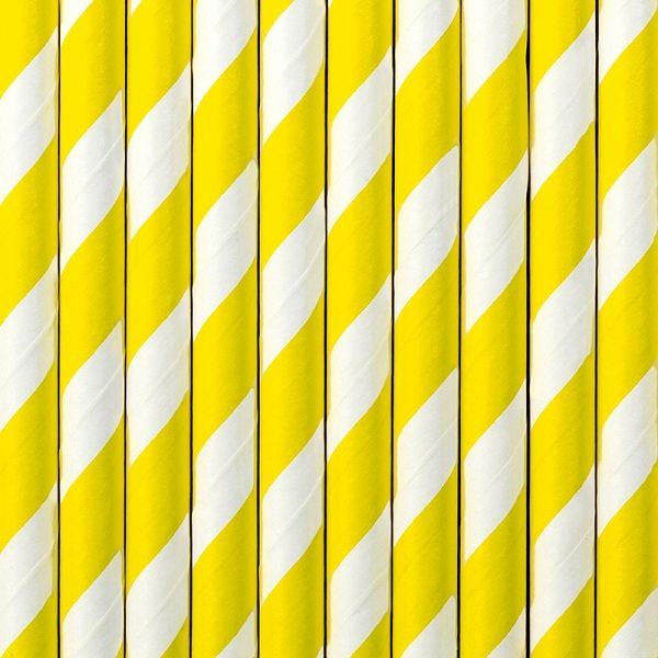 żółte papierowe słomki w białe paski, słomki do napojów, dekoracje candy-bar, dekoracje urodzinowe, dekoracje na roczek, dekoracje komunijne