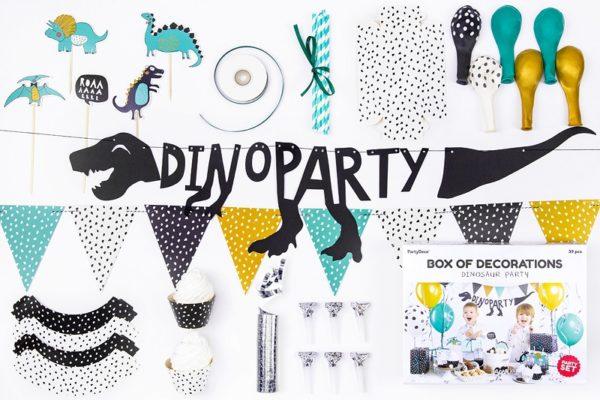 DinoParty, zestaw dekoracyjny na stół, dekoracje urodzinowe, dekoracje na kinderparty, dekoracje na roczek, candy-bar