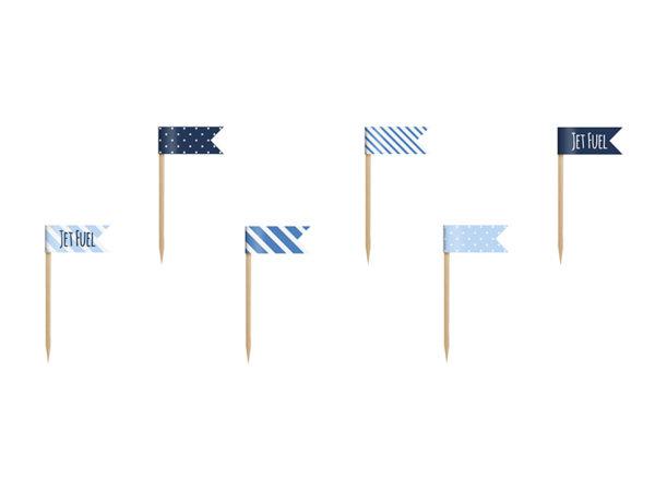 flagietki dekoracyjne do muffinek, niebieskie flagietki do babeczek