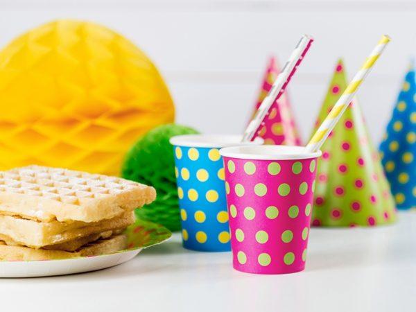 papierowe słomki w paski, kropki, dekoracje candy-bar, dekoracje urodzinowe, dekoracje komunijne, dekoracje na chrzest, dekoracje na roczek