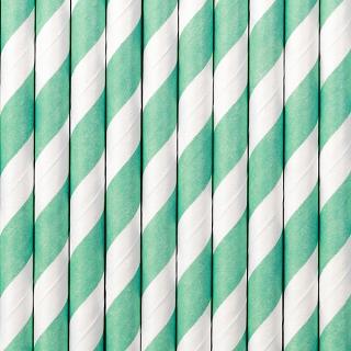 słomki papierowe w kolorze tiffany blue w białe paski, słomki do candy-bar, słomki do napojów
