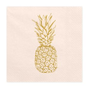 serwetka papierowa brzoskwiniowa zw złotym ananasem, papierowa brzoskwiniowa serwetka, papierowe serwetki dekoracyjne