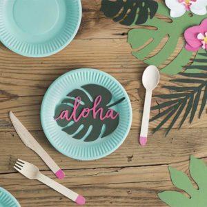 wizytówki na stół aloha, wizytówki na stół w stylu hawaii, hawaii party