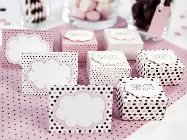 wizytówki na stół, dekoracje stołu, dekoracje candy-bar, 18stka, dekoracje słodki stół, komina, roczek, chrzciny