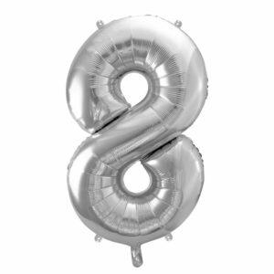 balon cyfra foliowa 8, dekoracje srebrne na imprezę, srebrne balony urodzinowe cyfry, srebrny balon cyfra 8, 86 cm, balony na imprezy,