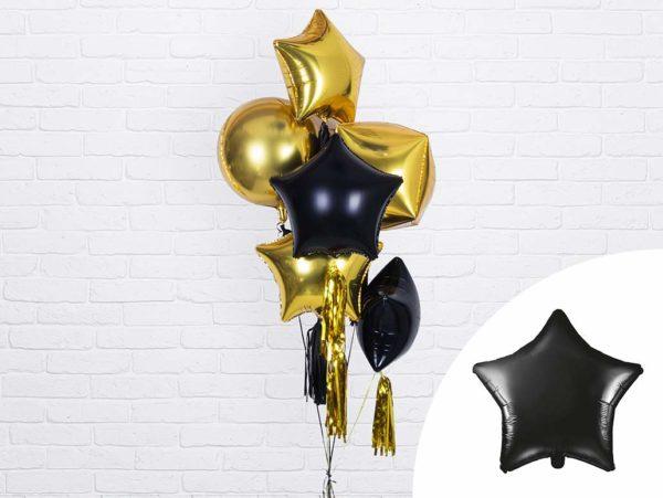 balon foliowy gwiazdka, czarny, złoty 48 cm, balony i dekoracje balonowe, balonowe bukiety, balony z helem