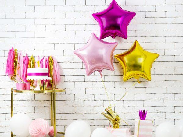 balon foliowy gwiazdka, jasny róż i fuksja 48 cm, balony i dekoracje balonowe, balonowe bukiety, balony z helem