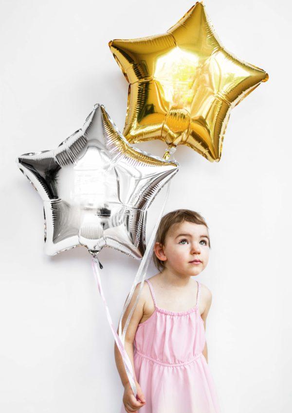 balon foliowy gwiazdka, serbro i złoto 48 cm, balony i dekoracje balonowe, balonowe bukiety, balony z helem