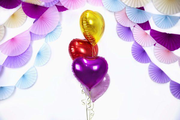 balon foliowy serce, fioletowy, złoty, czerwony 48 cm, balony i dekoracje balonowe, balonowe bukiety, balony z helem