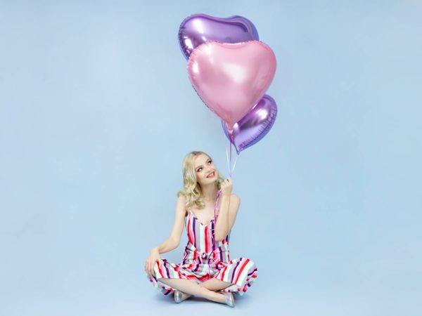 balon foliowy serce, liliowy, pudrowy róż 48 cm, balony i dekoracje balonowe, balonowe bukiety, balony z helem