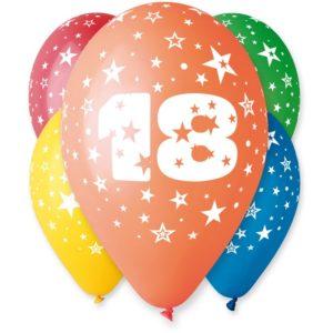 balon z nadrukiem 18, 30 cm, balony n 18stkę