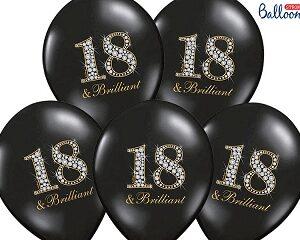 balony 18 brilliant, czarne balony na 18stke, balony czarne cyfra 18 30 cm