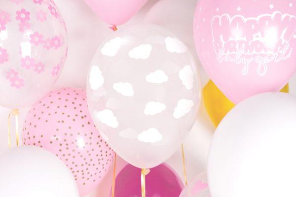 balony krystaliczne w białe chmurki 30 cm