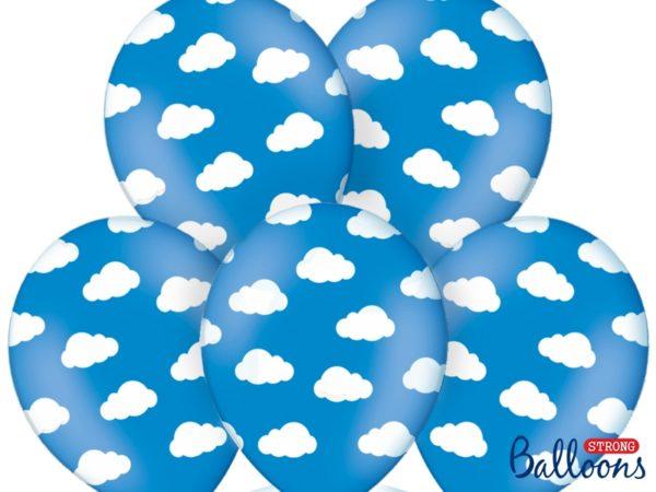 balony niebieskie pastelowe w białe chmurki 30 cm
