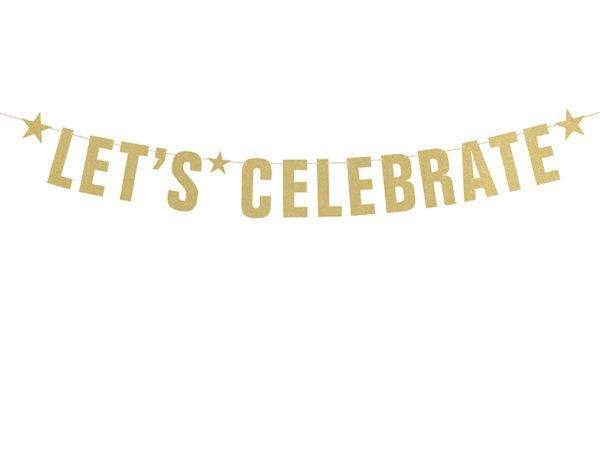 baner na przyjęcie złoty złoty zawieszany napis na przyjęcie