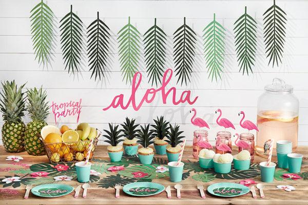 baner urodzinowy, baner na przyjęcie Hawaii, baner na przyjęcie egzotyczne, dekoracje na przyjęcia
