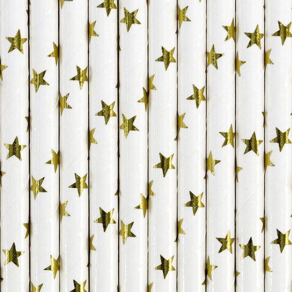 białe słomki w złote gwiazdki, papierowe słomki do napojów