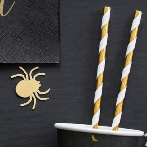 biało złote słomki papierowe do napojów