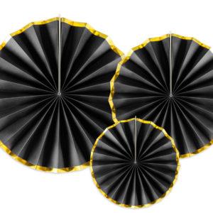 czarne rozety papierowe ze złotym brzegiem, czarno-złote rozety