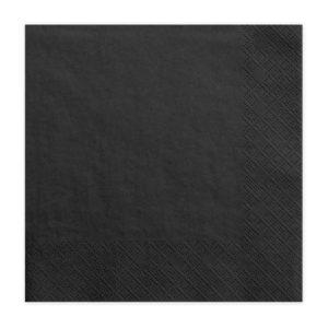 czarne serwetki papierowe, czarne serwetki jednorazowe, czarne dodatki na przyjęcia