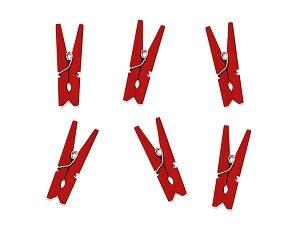 czerwone dekoracyjne klamerki