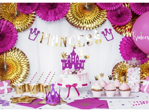 dekoracje urodzinowe, złote talerzyki gwiazdki