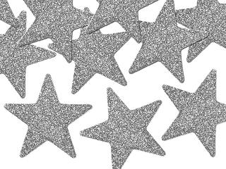 dekoracyjne brokatowe srebrne gwiazdki