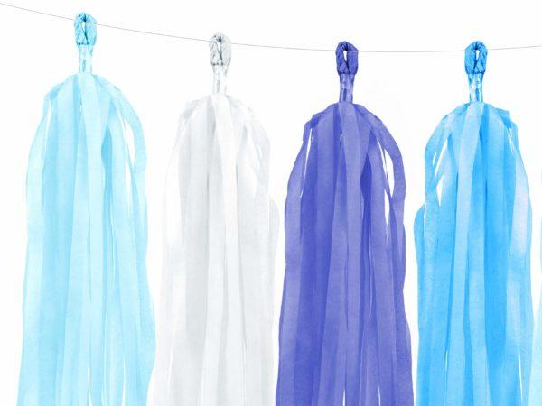 girlanda frędzle, błękit, niebieski i turkus