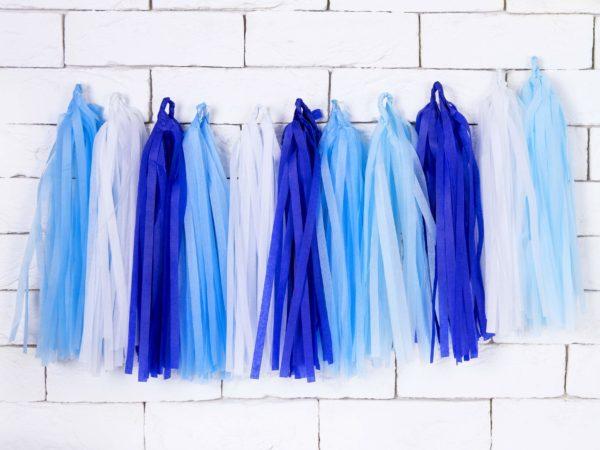 girlanda frędzle mix błękitu i niebieskiego