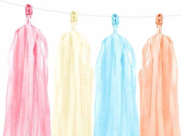 girlanda frędzle, mix kolorowych pasteli