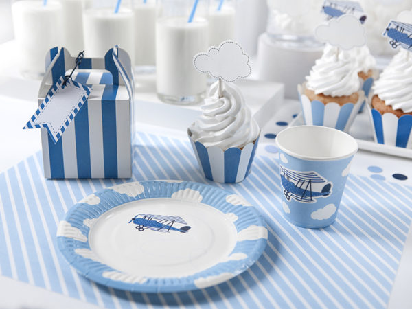 kubeczki jednorazowe, kubeczki papierowe, kubeczki z samolotem, kubeczki dla chłopca, kubeczki urodzinowe