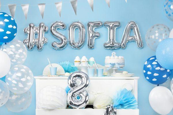 niebieskie pastele w białe chmurki, balony 30 cm