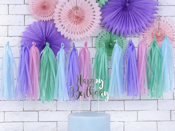 pastelowe dekoracje girlanda frędzle z bibuły