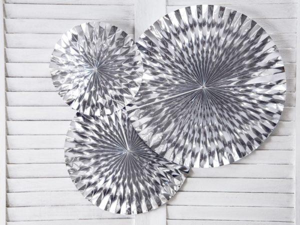 rozety srebrne, dekoracje na przyjęcia