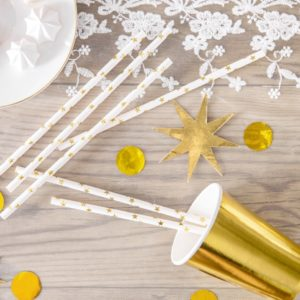 słomki papierowe do napojów białe w złote gwiazdki, biało-złote dekoracje na wesele, chcrzest, roczek, 18stkę, sylwestra, nowy rok