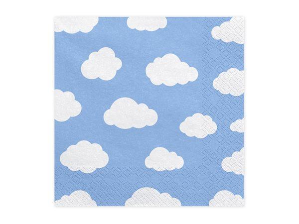 serwetki samolocik, serwetki błękitne w chmurki