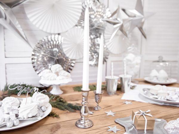 srebrne dekoracje brokatowe, gwiazdki srebrne