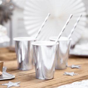 srebrne kubeczki jednorazowe, kubeczki na przyjęcia