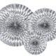 srebrne rozety papierowe, błyszczące rozety papierowe