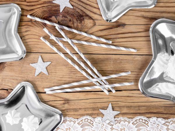 srebrne słomki do napojów, papierowe srebrno-białe słomki do napojów